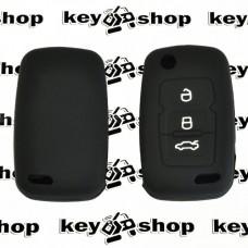 Чехол (черный, силиконовый) для выкидного ключа Geely Emgrand (Джили Эмгранд) 3 кнопки