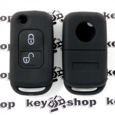 Чехол (черный, силиконовый) для выкидного ключа Mercedes (Мерседес) 2 кнопки
