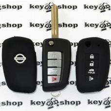 Чехол (черный, силиконовый) для выкидного ключа Nissan (Ниссан) 4 кнопки