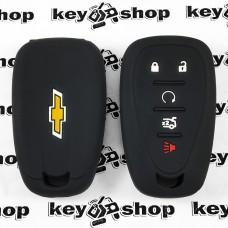 Чехол (черный, силиконовый) для смарт ключа Chevrolet (Шевролет) 4 + 1 кнопки