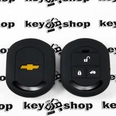 Чехол (черный, силиконовый) для авто ключа Chevrolet (Шевролет) 3 кнопки