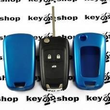 Чехол (синий, пластиковый) для выкидного ключа Chevrolet (Шевролет) 3 кнопки