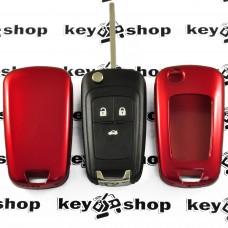 Чехол (красный, пластиковый) для выкидного ключа Chevrolet (Шевролет) 3 кнопки
