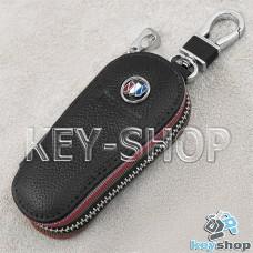 Ключница карманная (кожаная, черная, на молнии, с карабином, с кольцом) логотип авто Chevrolet Buick (Шевроле Бьюик)