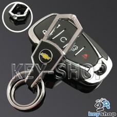 Кожаный брелок для авто ключей CHEVROLET (Шевроле) с карабином и кожаной вставкой