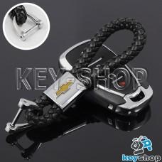Кожаный плетеный (черный) брелок для авто ключей CHEVROLET (Шевроле)
