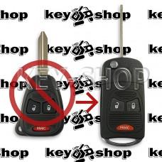 Корпус выкидного ключа для Chrysler (Крайслер) 2 кнопки + 1 (panic) под переделку