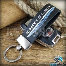 Брелок для авто ключей Chrysler (Крайслер) кожаный (черный, широкий) с хромированной фурнитурой
