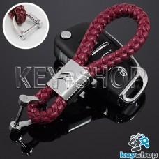 Кожаный плетеный (красный) брелок для авто ключей Citroen (Ситроен)