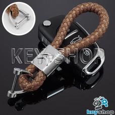 Кожаный плетеный (светло - коричневый) брелок для авто ключей Citroen (Ситроен)