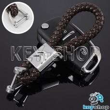 Кожаный плетеный (коричневый) брелок для авто ключей Citroen (Ситроен)