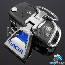 Металлический брелок для авто ключей Дачиа (Dacia) (синий)