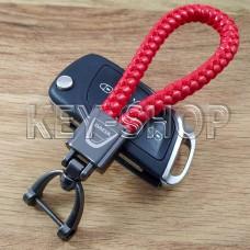 Брелок для ключа Дачиа (Dacia), кожаный, плетенный (красный)