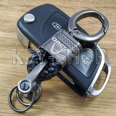 Брелок для ключа Дачиа (Dacia), кожаный, плетенный (черный), с карабином