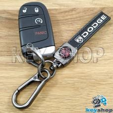 Брелок ключа Dodge (Додж) кожаный (черный) с карабином