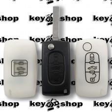 Чехол (белый, силиконовый) для выкидного ключа Fiat (Фиат) 3 кнопки