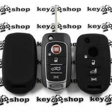 Чехол (черный, силиконовый) для выкидного ключа Fiat (Фиат) 4 кнопки