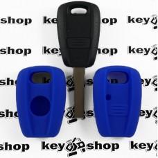 Чехол (синий, силиконовый) для авто ключей Fiat (Фиат) 1 кнопка