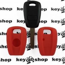 Чехол (красный, силиконовый) для авто ключей Fiat (Фиат) 1 кнопка