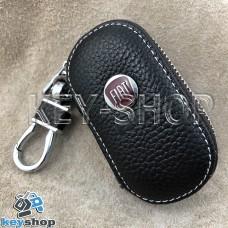 Ключница карманная (кожаная, коричневая, на молнии, с карабином, с кольцом), логотип Fiat (Фиат)