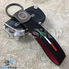 Кожаный замшевый (черный) брелок для авто ключей с логотипом Fiat (Фиат) и хромированным карабином