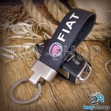 Брелок для авто ключей Fiat (Фиат) Кожаный (черный,) с матовой фурнитурой