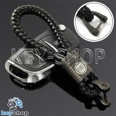 Кожаный плетеный (черный) брелок для авто ключей Fiat (Фиат)