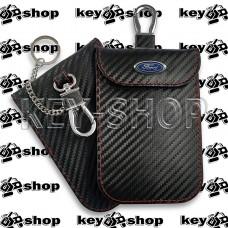Чехол Фарадея, антисканер, противоугонный чехол Ford (Форд) (кожаный, под карбон, черный, на липучке, с карабином, с кольцом)