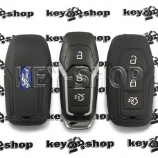 Чехол силиконовый смарт ключа Ford (Форд)  (черный) 3 кнопки