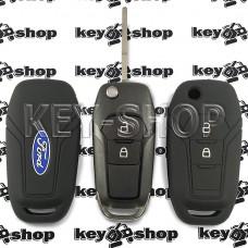 Чехол силиконовый выкидного ключа Ford (Форд) (черный) 2 кнопки