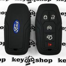 Чехол (черный, силиконовый) для смарт ключа Ford (Форд) 4 + 1 кнопки