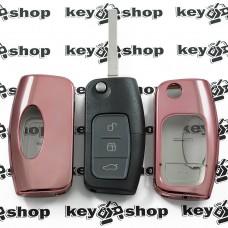 Чехол (бледно-розовый, полиуретановый) для выкидного ключа Ford (Форд), кнопки с защитой