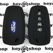 Чехол (черный, силиконовый) для смарт ключа Ford (Форд) 4 кнопки