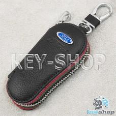Ключница карманная (кожаная, черная, на молнии, с карабином, с кольцом), логотип авто Ford (Форд)
