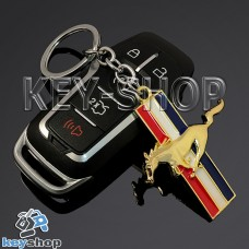 Металлический (золотистый) брелок для авто ключей Ford Mustang (Форд Мустанг)
