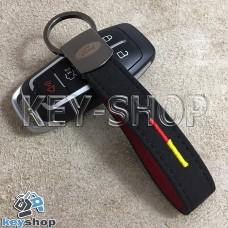 Кожаный замшевый (черный) брелок для авто ключей с логотипом Ford (Форд) и хромированным карабином