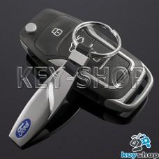 Металлический брелок для авто ключей Ford (Форд) с карабином и кожаной вставкой