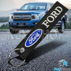 Брелок для ключа Ford (Форд), черный, с кольцом (текстиль)
