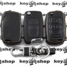 Чехол (кожаный) для выкидного ключа Geely Emgrand (Джили Эмгранд)  3 кнопки
