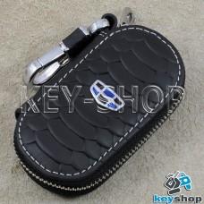 Ключница карманная (кожаная, черная, с тиснением, на молнии, с карабином, с кольцом), логотип авто Geely (Джили)
