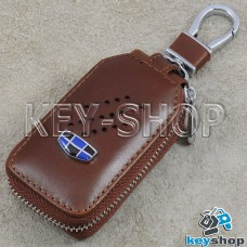 Ключница карманная (кожаная, коричневая, с карабином, на молнии, с кольцом), логотип авто Geely (Джили)