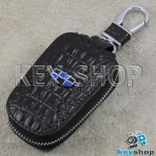 Ключница карманная (кожаная, черная, с тиснением, с карабином, на молнии, с кольцом), логотип авто Geely (Джили)