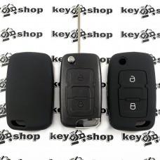 Чехол (черный, силиконовый) для выкидного ключа Geely Emgrand (Джили Эмгранд) 2 кнопки