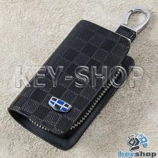Ключница карманная (кожаная, черная, с тиснением, на молнии, с карабином, с кольцом) логотип авто Geely (Джили)
