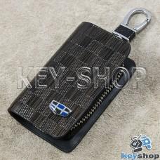 Ключница карманная (кожаная, коричневая, с тиснением, на молнии, с карабином, с кольцом) логотип авто Geely (Джили)