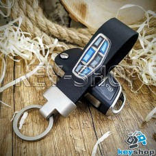 Брелок для авто ключей Geely (Джили) кожаный (черный) с матовой фурнитурой