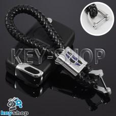 Кожаный плетеный (черный)  брелок для авто ключей Geely (Джили)