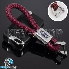 Кожаный плетеный (бордовый) брелок для авто ключей Geely (Джили)