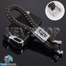 Кожаный плетеный (коричневый) брелок для авто ключей Geely (Джили)