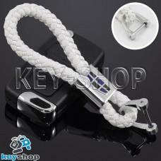 Кожаный плетеный (белый) брелок для авто ключей Geely (Джили)